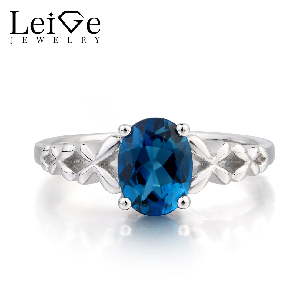 Leige Jewelry London Blue Topaz Ring Promise Ring November Birthstone Oval Cut Gemstone Blue Gems 925 Sterling Silver for Her термокружка gems 470ml blue topaz 1907 77
