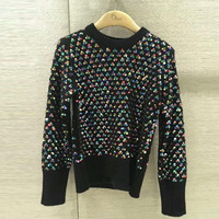 New paragraph with heavy color sparkling sequins long sleeved sweater sweater collar render unlined upper garment