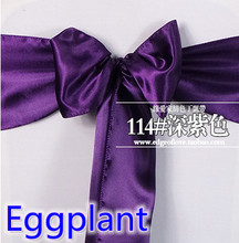 Eggplant colour high quality satin sash chair bow for chair covers sash spandex party and wedding decoration wholesale(China)