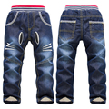 New Winter Children Jeans Warm Cashmere Pants Boys Girls Jeans Cartoon Cat Pattern Kids Denim Trousers for 2-7 Years