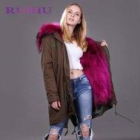 RUIHU Women Raccoon Fur Lining Long Coat Hood With Raccoon Dog Fur Collar Winter Fur Jacket Outerwear Fur Coat RHY800
