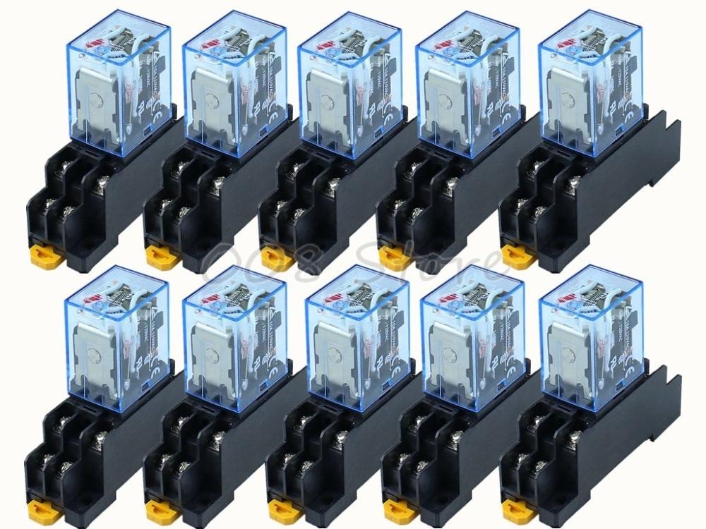 Coil Power Relay 8pin 2NO 2NC HH52P-L Led Lamp 5A AC24V 10set Base