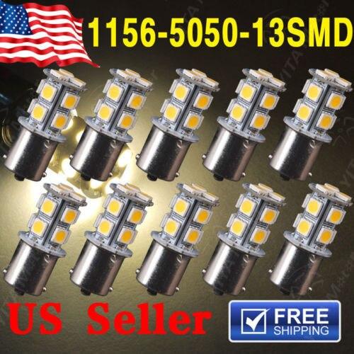 10Pcs led Car Warm White 1141 RV led Bulbs 1156 BA15S 13-SMD 5050 LED Backup Reverse Light bulbs External Car Light Source 0305