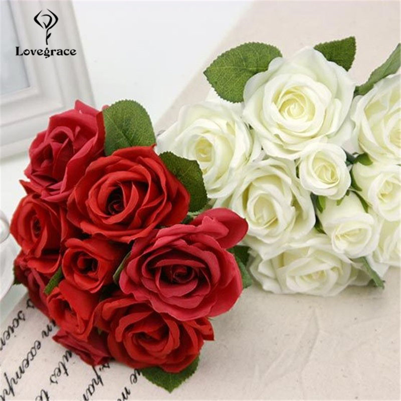 Wedding Bouquet Polyester Rose Holder Wedding Flowers Bridal Bouquet Artificial Bridesmaid Accessories Wedding Bouquet Lovegrace