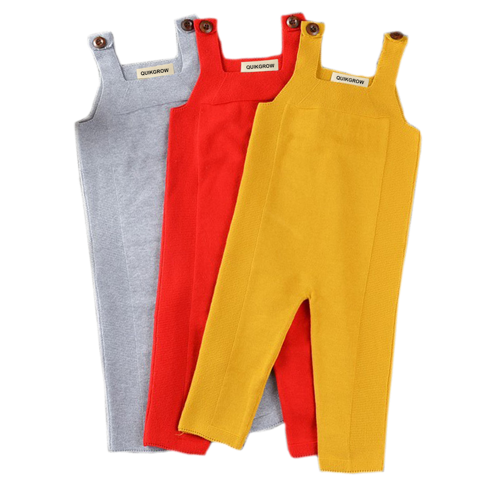 QUIKGROW Premium Baby Overalls Knitted Nice Candy Colors Yellow & Grey & Red Infant Girls Trousers Boys Long Pants YM07KZ