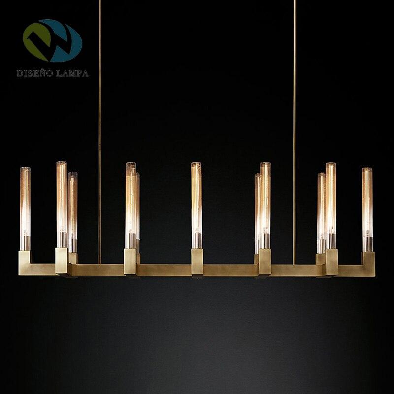 Luxe américain RH déco Led Lustre Lustre éclairage intérieur Lustre CANNELE linéaire Lustre éclairage E14 luminaire