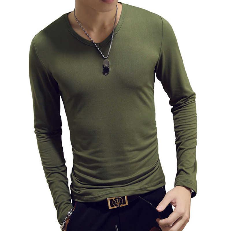 Camiseta clásica de manga larga a la moda de 1 pieza, camisetas ajustadas para hombre, camisetas sólidas de diseñador tops