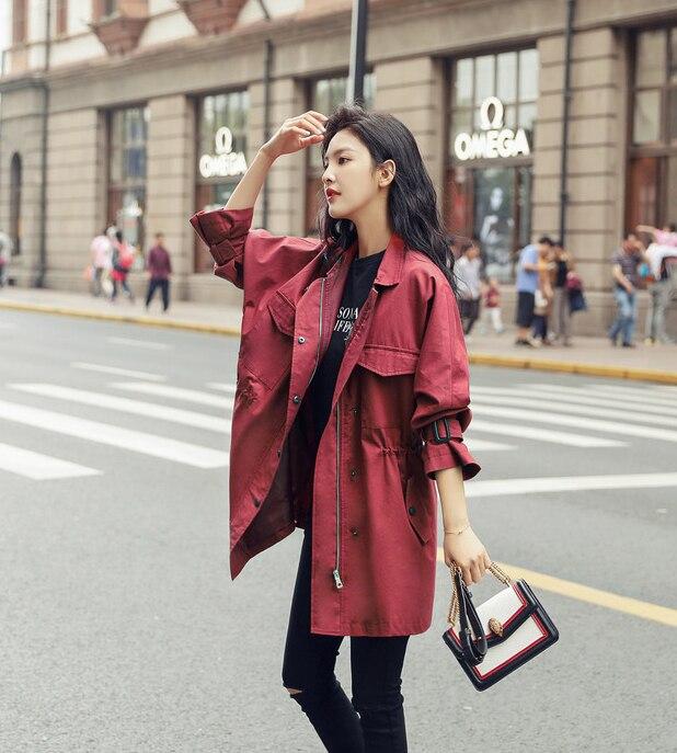 Lâche Vin Wine Printemps Coréenne Manteau Femelle Occasionnel Automne Moyen Tranchée Rouge Femmes Unie Élégant Red Version Couleur Pardessus Survêtement B728 Oaq1OnR