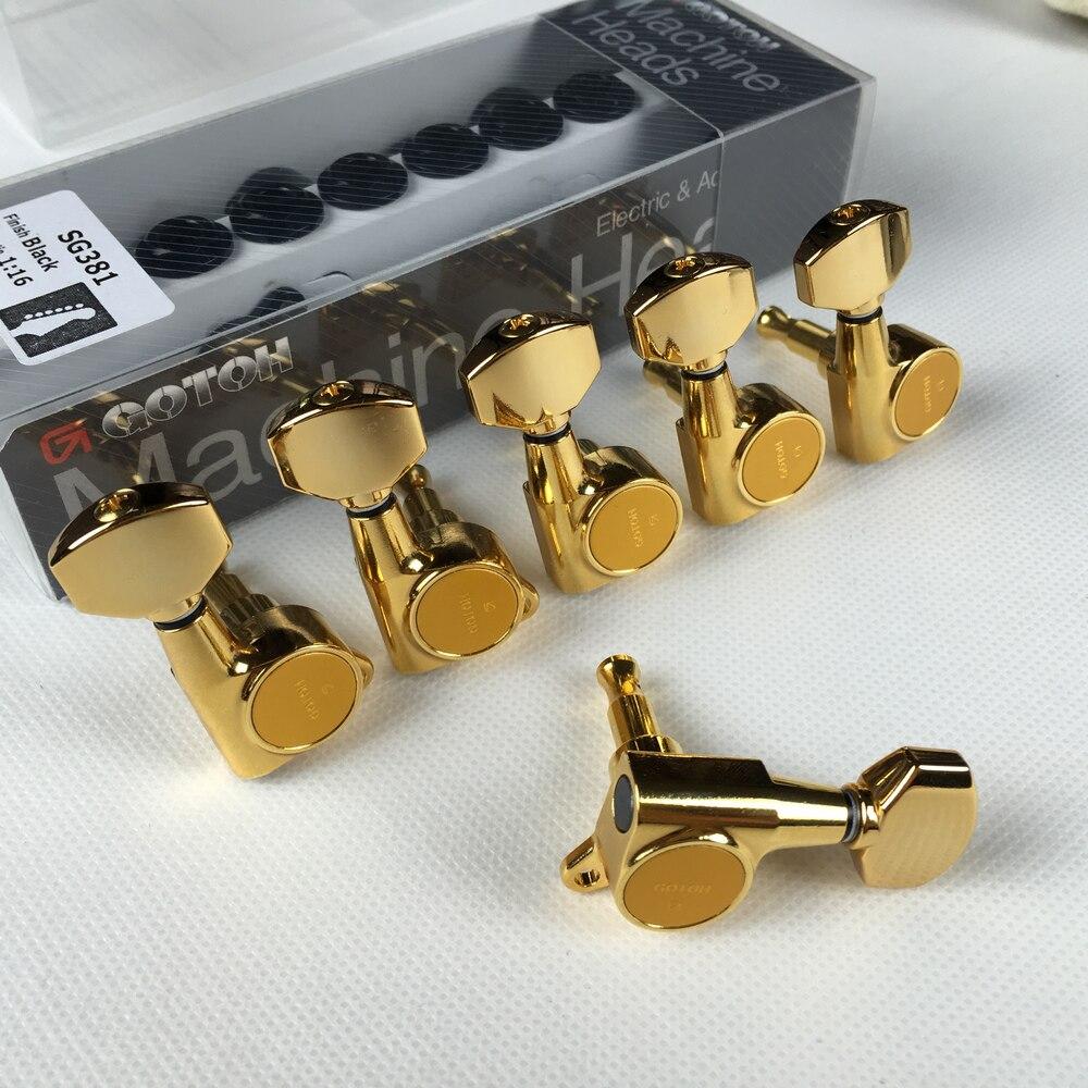 Original GOTOH SG381-07 guitare électrique têtes de Machine accordeurs (Chrome noir or argent) cheville de réglage fabriqué au japon - 5