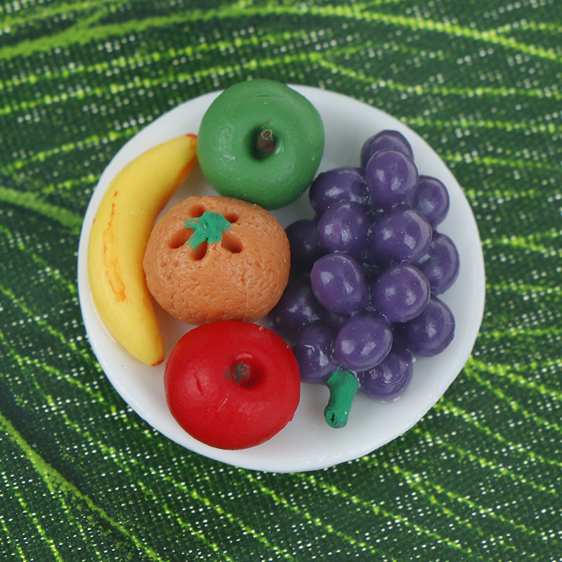 Details about  /1:12 Doll House Miniature food fruit dish with grape for doll kitchen HfBWUS