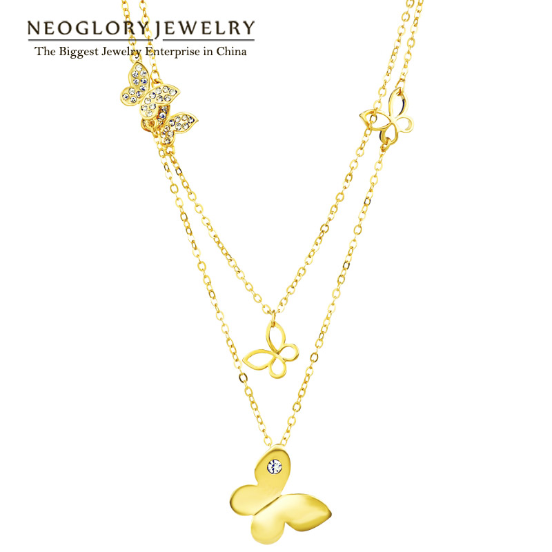 Neoglory Light Yellow Gold Color Multi Layer Maxi Chain Rantai Butterfly Pendant Fesyen Barang Kemas Hadiah Girl 2018 JS6 But-g