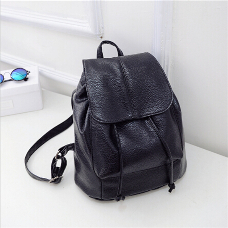 2017 Women Black Leather Backpack Girls Small Vintage School Bags ...