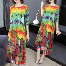 Rainbow Fake Silk Dress Plus Size Loose High Quality Elegant Vintage Party Dresses Robe Midi Print Floral 2019 Summer Clothing недорого