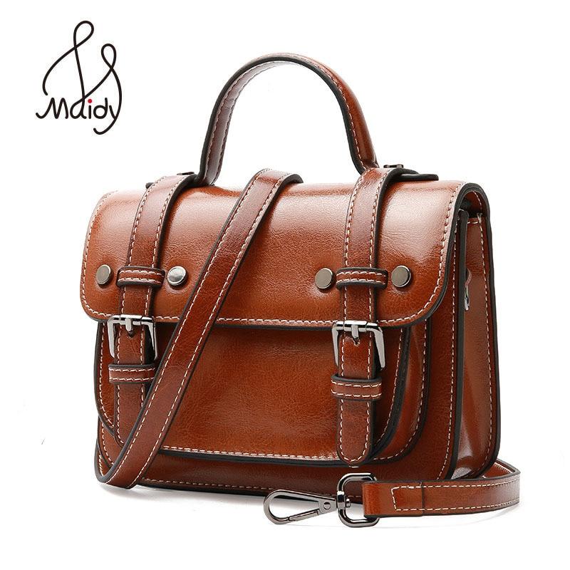 2018 Womens Girls Genuine Cowhide Leather Totes Flap Satchels Patent Crossbody Shoulder Messenger Handbag Bag Famous Brand Maidy