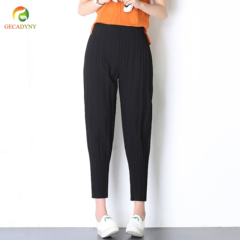 Fashion Woman's Pleated Chiffon Harem   Pants     Capris   Trousers High Waist 2019 Summer New Original Cropped Lantern   Pants   Women XXXL