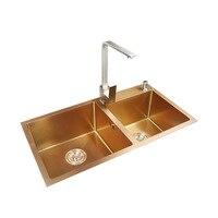 Rose Gold Kitchen Sinks Stainless Steel Undermount Double Bowls Sink with Kitchen Sink Basket 3mm Kitchen Sinks soap Dispenser