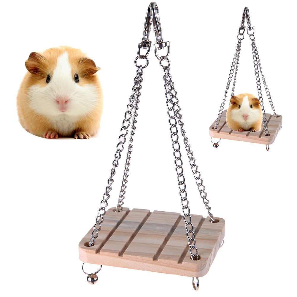 Hamster Chinchilla Toys Wooden Swing Harness Hanging Bed Parrot font b Pet b font Hanging font
