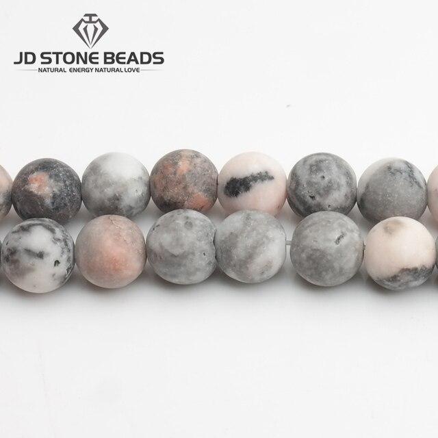 "Matte Natural Stone Pink Zebra Jaspers Frost Round Loose gemstone beads 15"" Stra"
