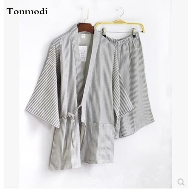 Gasa de algodón traje de kimono ropa de vapor Sudor verano Media shorts Pijama Conjunto de salón