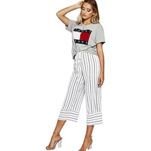 Summer new fashion women's wide leg pants trend temperament straight women's pants loose striped pants high waist casual pants люк evecs d5060 ceramo comfort