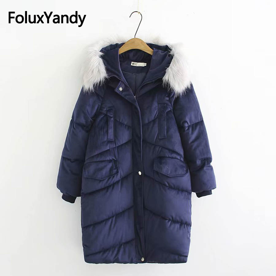 6XL Plus Size Women Parkas Winter Coats Faux Fur Trim Hooded Outerwear Casual Solid Long Parka