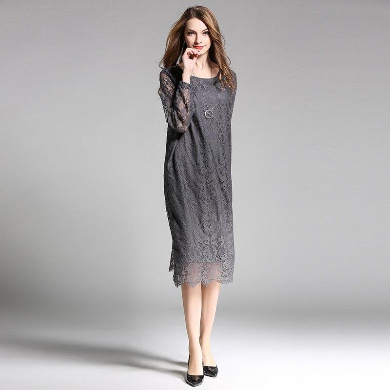 5e64d3888e13 2019 nuovo arrivo più il formato del merletto delle donne vestiti lunghi di  modo delle donne di disegno di primavera abito di pizzo cava nero grigio  claret ...