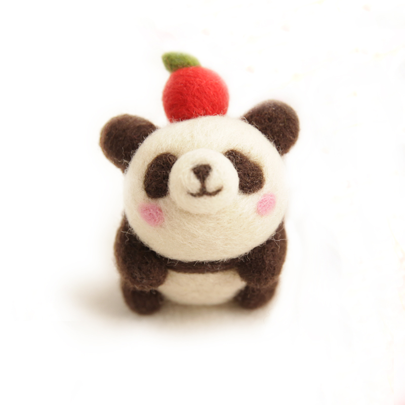 DIY Needle Felting Materail Package (with tools) for Panda Decoration Hand Spinning Fun Doll Needlework Raw Crafts