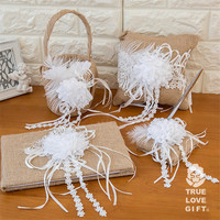 Set of 4 Wedding Decorations Wedding Ring Pillow + Wedding Guest Book and Pen + Wedding Flower Girl Basket