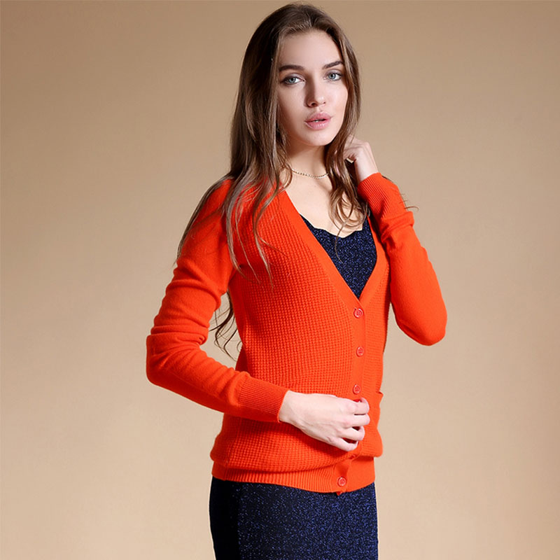 2017 Top Knitted Cardigans For Women 100% Cashmere Knitted Long Sleeve V Neck Cardigan Sweater Autumn Orange Cardigan Sweater
