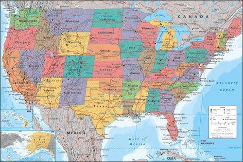 Affiche de carte des états-unis et de lamérique | Affiche en soie, peinture murale décorative 24x36 pouces