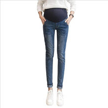 Washed Denim Skinny Maternity Jeans 2019 Autumn Fashion Belly Pencil Trousers Clothes for Pregnant Women Pregnancy Pants QV816(China)