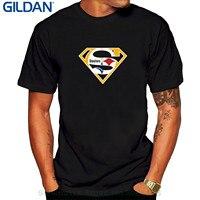 GILDAN Z Krótkim Rękawem 100% Bawełna Człowiek Tee Topy męska Super Steelers O-neck T Shirt Czarny Mody Krótkie Rękawy