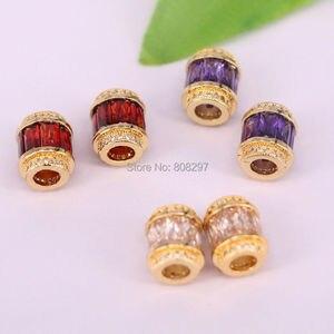 Image 4 - 20 Stks Fonkelende Gouden Kleur Crystal Micro Pave CZ Grote Gat Kralen Mode Spacer Kralen Voor Diy Sieraden Maken