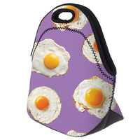 5pcs ASDS Egg Print Insulated Lunch Bag Thermal Waterproof Purple