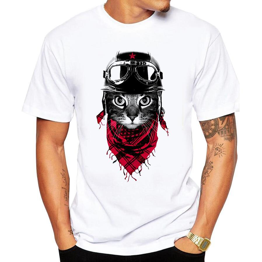 Men Summer T-shirt Creative The Observer Cat Printed Men's Tops Short Sleeve Casual T Shirts Cartoon Printed Hipster Short Tees