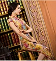 gold yellow velor fabric velvet qipao dresses women winter traditional chinese oriental velvet qipao cheongsam