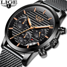 LIGE 2019 new brand men chronograph stainless steel watches mens waterproof quartz sport watch luxury casual business
