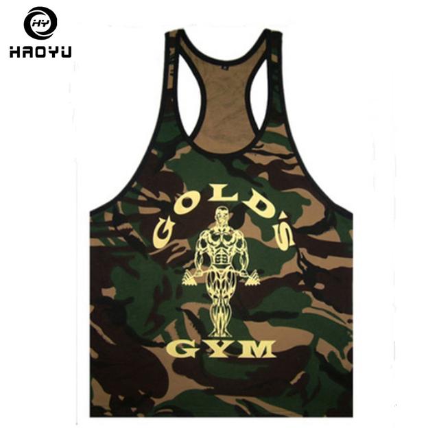 New Golds Mens Fitness Tank Tops Bodybuilding Clothing Brands Singlet Camouflage Mens Stringer Tank Tops Shirt Vest