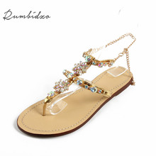 Rumbidzo 2017 Brand Shoes Woman Shoes Women Sandals Crystal Flat Heel Women's Shoes Flip Flops Beach Sandalias Crystal Beading
