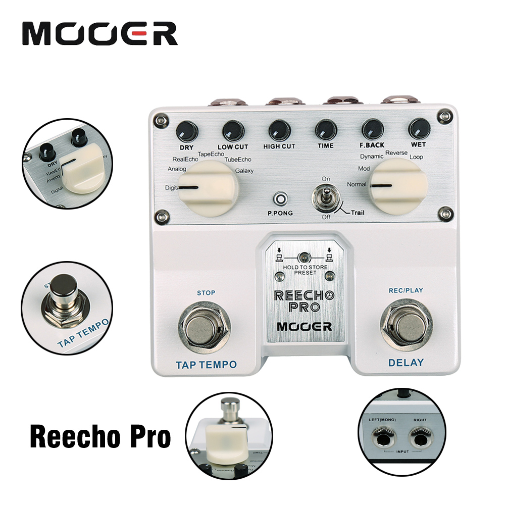 Mooer Reecho Pro Digital Delay Guitar Effect Pedal Loop Recording & Tone Saving With 6 Delayed 3 Additional Effects mooer reecho delay electric guitar pedal effect true bypass effects