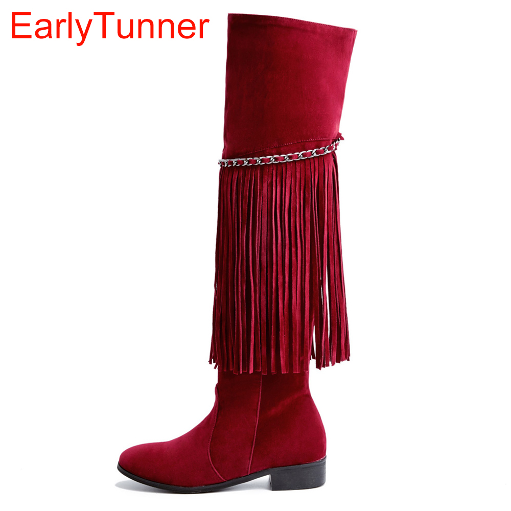Brand New Sales Red Brown Women Fringe Thigh High Boots European Black Lady Over the knee Tassel Shoes EDA67 Plus Big size 43 10 hualing rscw 298 wet dry lady shaver red brown
