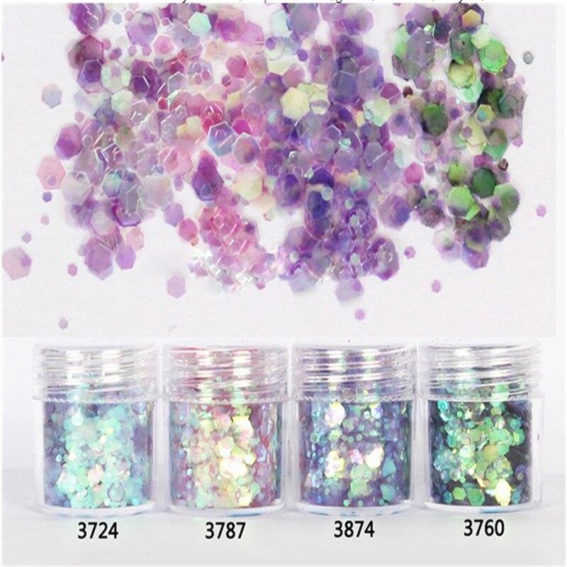 1 Box 10ml Mixed Size Nail Glitter Powder DIY Mix Purple Pink Green Series Art Sequins Decorations