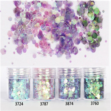 1 Box 10ml Mixed Size Nail Glitter Powder DIY Mix Purple Pink Green Series Nail Art Sequins Powder Glitter Nail Art Decorations tct 077 christmas glitter white color with purple red light iridescent mix shape mix size for nail glitter makeup facepaint diy
