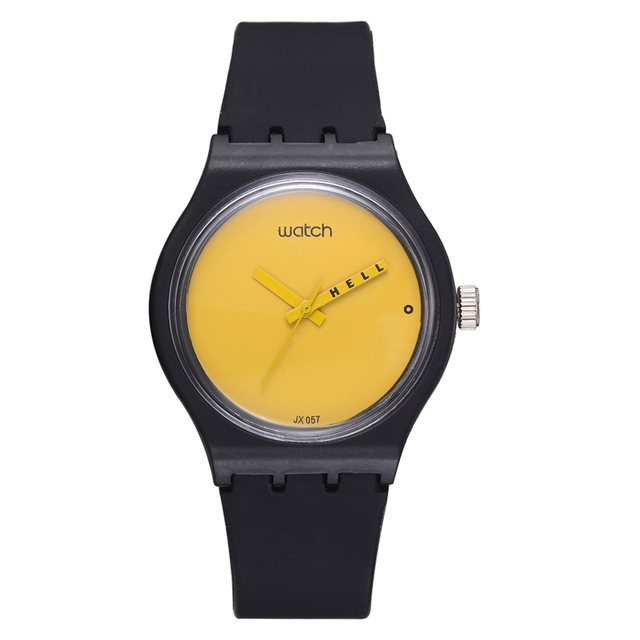 Fashion Watch Women Sport Creative Yellow Simple Dial Black Straps Quartz Watch