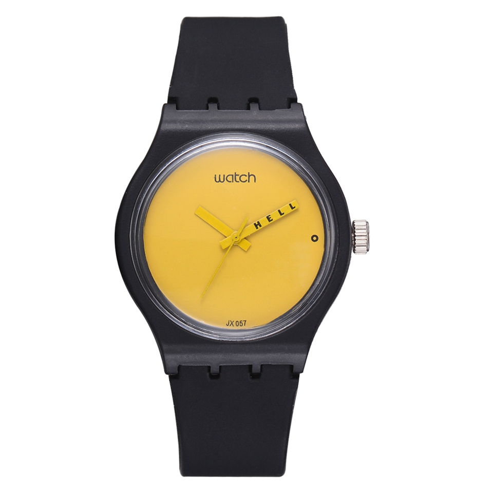 Fashion Watch Women Sport Creative Yellow Simple Dial Black Straps Quartz Watch Ins Style Silicone Relogio Feminino