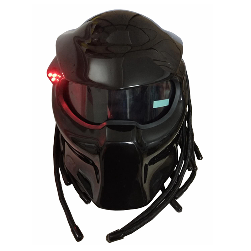 Masei 2017 Nuevo negro mate/negro brillante depredadores casco máscara de fibra de vidrio moto rcycle Iron Man casco Full face moto casco