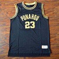 MM MASMIG Barack Obama #23 Punahou Haute Basket-Ball Jersey Piqué Noir S M L XL XXL XXXL