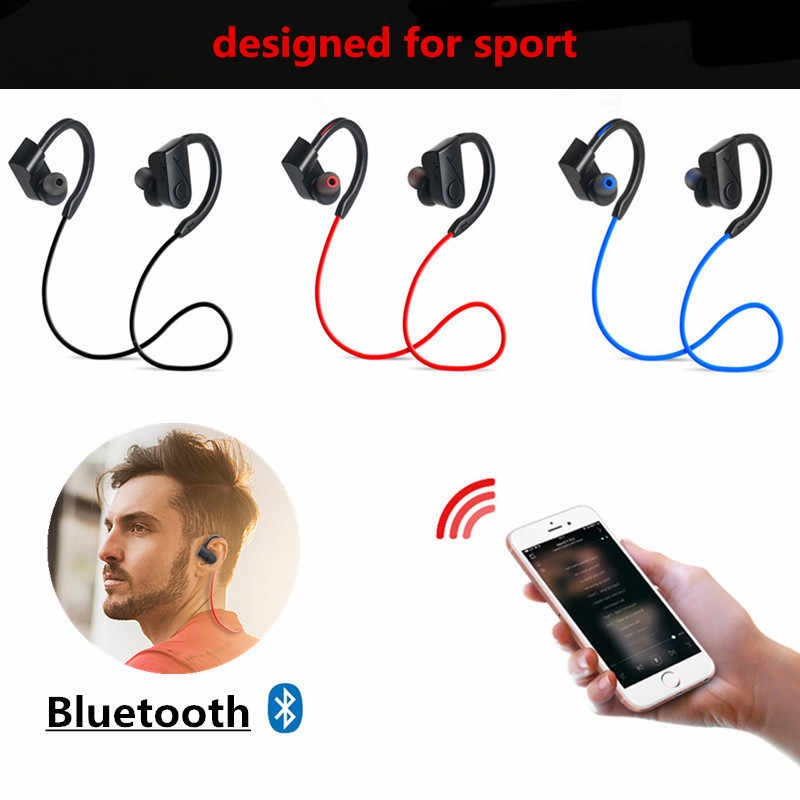 Tahan Air Bluetooth Earphone Bass Wireless Bluetooth Headphone Olahraga Bluetooth Headphone dengan MIC untuk iPhone Xiaomi Huawei