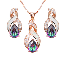 Hermosa Australian White Opal Mystic Rainbow Topazz Stud Earrings Rose Gold Charms Pendant Necklace Jewelry Sets For Women JS8