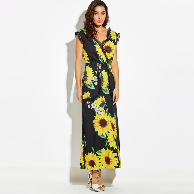 Women retro long maxi dress printed sunflower plus size floral dress ...